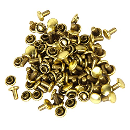Imported Copper Dual Head Jeans Craft Rivets 6 x 7mm Pack of Approx. 50Pcs Gold