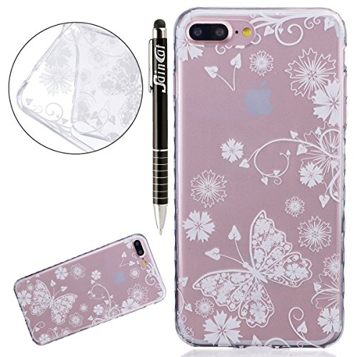 SainCat Coque Housse pour Apple iPhone 7 Plus,Transparent Coque Silicone Etui Housse,iPhone 7 Plus Silicone Case Soft Gel Cover Anti-Scratch Transparent Case TPU Cover,Fonction Support Protection Comp papillon Blanc