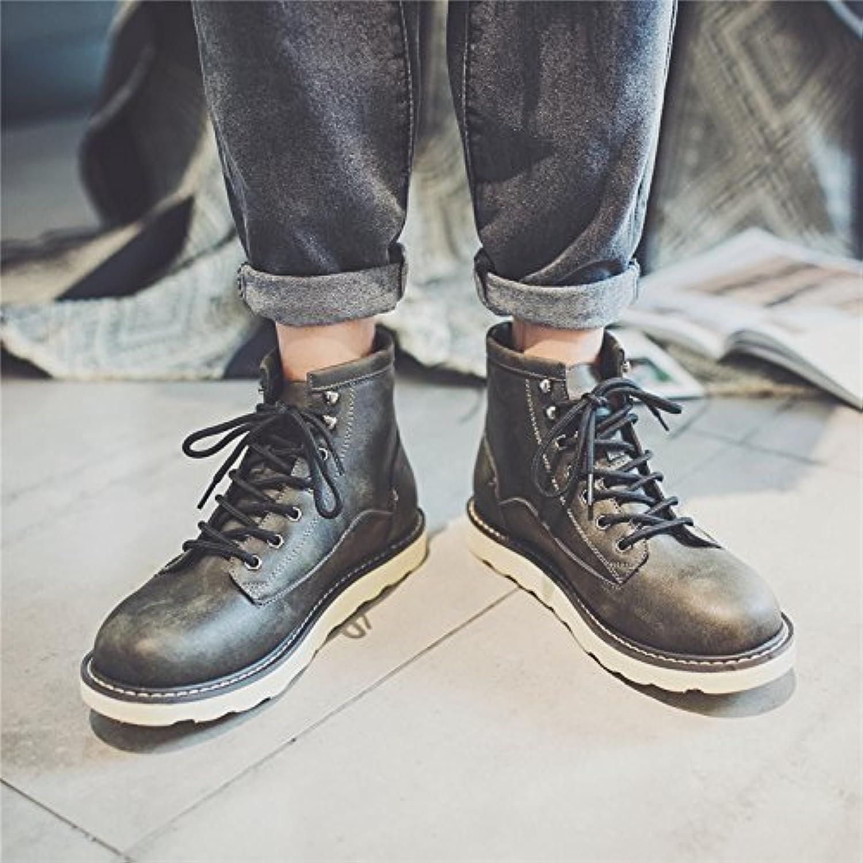 HL-PYL-zapatos de hombre coreano Retro alta botas botas Ma Dingxue para Inglaterra,43,Negro gris