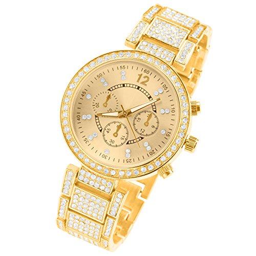 Taffstyle Designer Damen Metall Armbanduhr Chronograph Optik mit Swarovski Elements Kristallen Analog Quarz Uhr Gold
