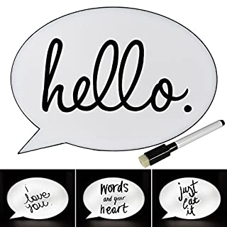 ASAB Speech Bubble LED Light Up Box Write Your Own Message Display Draw Comic Strip Style Letter Number Home Decor Bedroom Shop Party Wedding Gift With Marker Pen