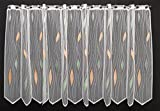 Scheibengardine mit Tropfenmuster 75 cm hoch | Breite der Gardine durch gekaufte Menge in 14 cm Schritten wählbar (Anfertigung nach Maß) | weiß mit pastellgrün/pastellorange | Vorhang Küche Wohnzimmer