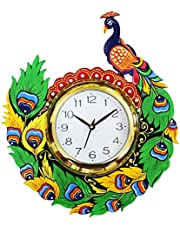 CraftJunction Wooden Handpainted Peacock Design Wall Clock(14 * 12 Inches)
