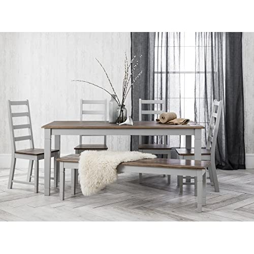 Noa and Nani - Canterbury Dining Table with 5 Chairs and 1 Bench - (Dark Pine and Silk Grey)