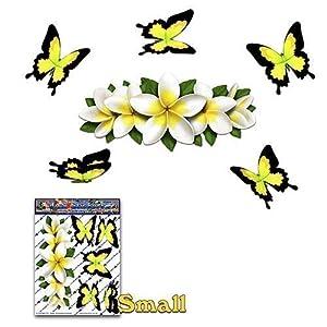 Blume weiß Frangipani PLUMERIA Kleine Mitte + gelber Schmetterling Tier Auto Aufkleber - ST00046WT_SML - JAS Aufkleber