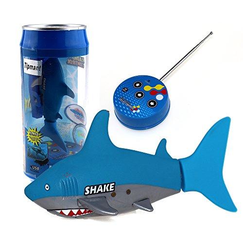Tipmant Mini Fernbedienung Spielzeug Elektrische RC Fische Boot Hai Schwimmen im Wasser Kinder Geschenk - Blau