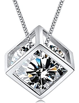 Sterling Silber quadratisch Magic Cube Schmuck S925Anhänger Halskette mit 18K Weiß Gold vergoldet für Damen