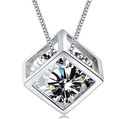 Sterling Silber Quadrat Magic Cube Schmuck S925 Anhänger Halskette mit 18K Weißgold für Frauen überzogen