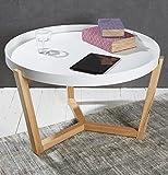 Wholesaler GmbH Couchtisch Wohnzimmertisch Sofatisch Beistelltisch weiß abnehmbares Tablett ø 80 cm Lifestyle Modern Chic