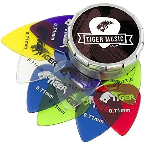 Tiger-Set di plettri per chitarra con Gel, ø 18 mm, confezione da 6 plettri per chitarra