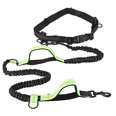 Greensen Jogging Hundeleine, Reflektierende Einstellbar Hundeleine mit Bauchgurt (145-188 cm), Bis zu 70 Kg für Große und Mittelgroße Hunde–zum Joggen, Spazieren, Wandern, Radfahren