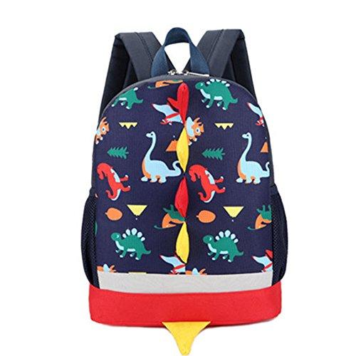 Kinder Rucksack Kleinkind Kinder Tasche für Jungen Mädchen mit Sicherheitsgurt Leine Litte Schultasche Netter Dinosaurier Rucksack Design für Kinder 2-6 Alter (Schwarz)