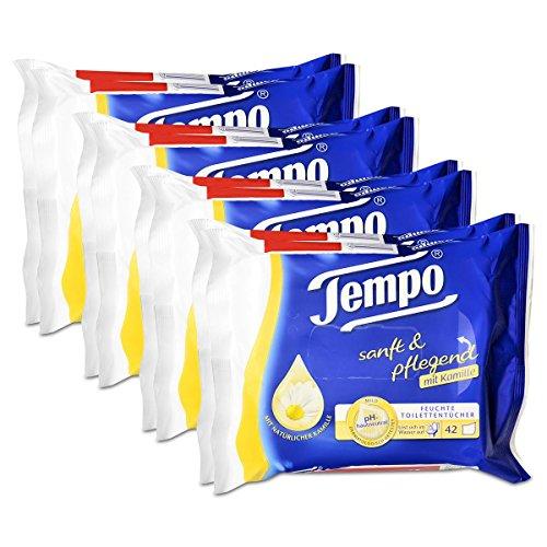 4x Tempo Feuchte Toilettentücher sanft & pflegend Duo-Nachfüllpackung, mit Kamille 2x42er -
