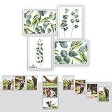 Kunststoff Bilderrahmen Fotorahmen Collage zum inidividuellen gestalten 4 x 15x21cm (DIN A5) Weiß mit Normalglas und Klammern