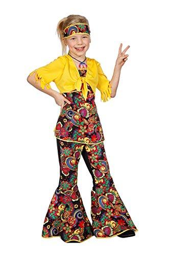Jannes - Kinder-Kostüm Hippie Mädchen, Paisley mit Schlaghose und Stirnband 176 (Kind Gypsy Girl Kostüm)