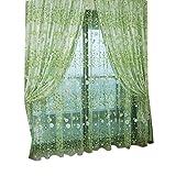 VORCOOL Gardine Vorhang Transparent Voile mit ösen 100x200cm Blumen Druck Dekoschal Schlafzimmer Wohnzimmer Fenster Balkon Gardinen Schal (Grün)