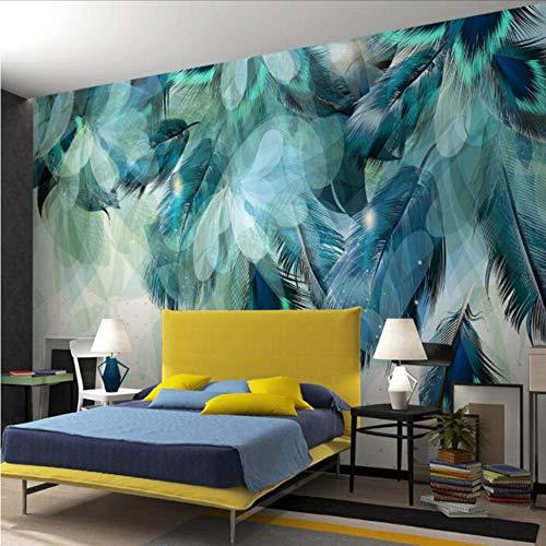 Mkkwp Personalizado De Cualquier Tamaño 3D Minimalismo Nórdico Azul Pluma Mural Moderno Arte Abstracto Papel Pintado En La Pared Fresco Sala De Estar Dormitorio Papel De Pared200Cmx140Cm