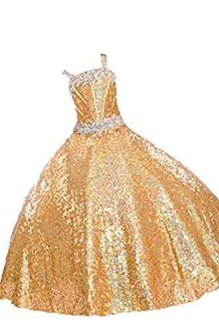 Wealth Girls' Full Sequins Beaded Ball Gowns Party Pageant Dresses 16 US Gold
