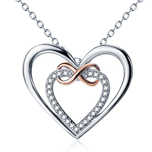 925Sterling-Silber Herz Unendlichkeit Liebe A florers 5A Zirkonia O Kette Halskette