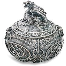 statuettedeco - Boite ronde figurine dragon intérieur tissu