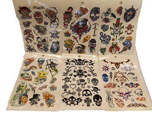 One Book of 6 Feuilles 60+ Noir De Garçons De Mens Angry Araignées, scorpions ou Crânes Tribal Tatouages Temporaires pour fêtes, cadeaux, etc - par Fat-catz-copy-catz - skull livre #11, one size