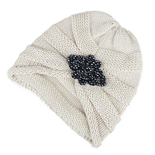 POachers Cappello da donna con berretto da sci in lana lavorato a maglia, lavorato a maglia, lavorato a maglia e lavorato a maglia Beige