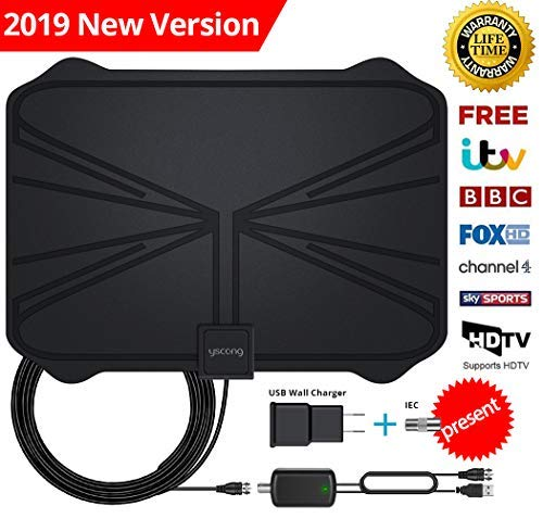 Digital TV Antenna for Indoor and Outdoor, amplified from 60 to 100 Mile of 4 K HD VHF UHF Freeview for Life Local Channels and programming for All Type of television.