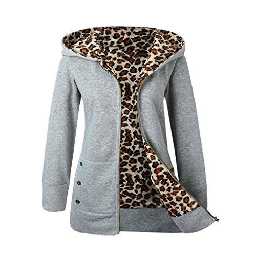 Hoodie Damen Xinan Frauen Kapuzen Sweater Plus Samt Verdickte Leopard Reißverschluss Mantel (M, Grau)