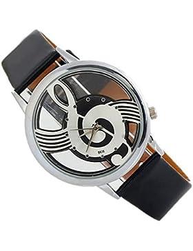 SSITG Damen Uhr Armbanduhr Musik Noten-Schlüssel Violinschlüssel Leder Geschenk Gift Armbanduhr watch