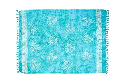 ManuMar Donna sarong | Pareo telo mare | leggero per telo fasciatoio con frange nappe Türkis Schmetterling m