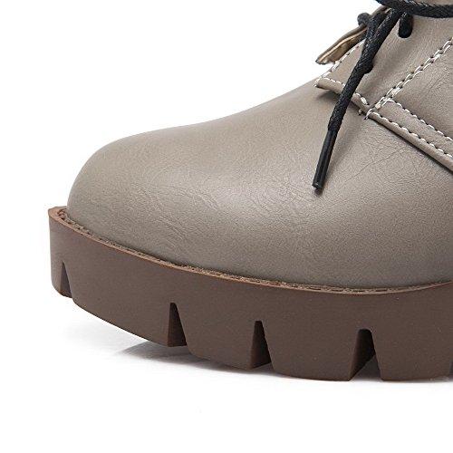 VogueZone009 Donna Allacciare Luccichio Puro Tacco Medio Ballet-Flats Grigio