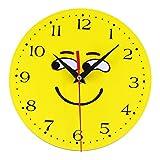 Zarupeng Emoji Wanduhr, Kreative Stil antike Holz Wanduhr für Home Wohnzimmer Küche, Ohne Tick Tack Geräusch, 20cm X 20cm (20 x 20 cm, B)