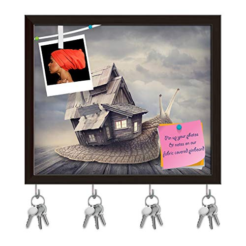 ArtzFolio Snail with A Shell House Key Holder Hooks   Notice Pin Board   Dark Brown Frame 14 X 12Inch -