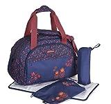 okiedog Shuttle 39004 geräumiger Weekender, Reisetasche mit Trolleyschlaufe, Schultergurt, viele Fächer, inkl. Zubehör für Wickeltasche und Zubehörbeutel, Matruschka blau, ca. 49 x 32 x 25 cm