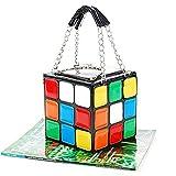 MSmask Moda de la personalidad creativa de las mujeres Cubo de Rubik Pequeño bolso del partido del bolso de la historiet