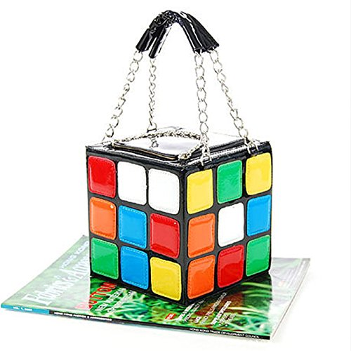 Hongch Damenmode kreative Würfel Persönlichkeit Rubik (Multicolor) für den täglichen kleine Partei Handtasche nette Karikaturhandtasche Handtasche Makeup bag (Überprüfen Sie Schulter Tote)