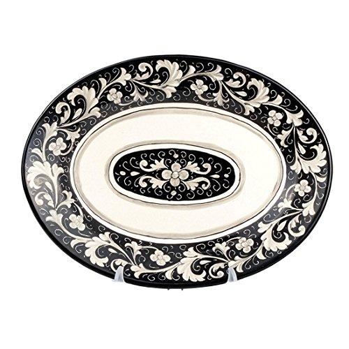 MICHELANGELO Peint à la main, Poterie - Plateau ovale décoration C2 Noir en Céramique 38x29 H4 cm (NOIR)