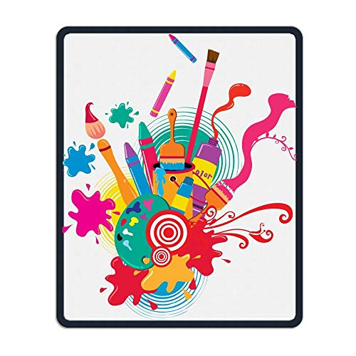 Drempad Gaming Mauspads Custom, Non-Slip Mouse Pads Rectangle Rubber Mousepad Colourful Pen Brush Crayon Print Gaming Mouse Pad