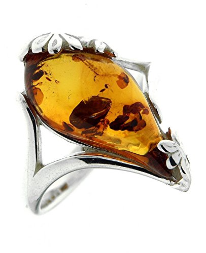 Trabbia Vuillermoz  -  Sterling-Silber 925  Sterling-Silber 925     Bernstein  (Ring Silber 925 Bernstein Sterling)