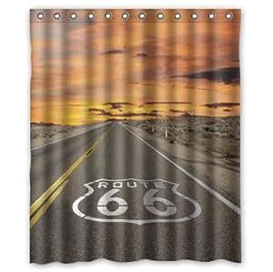 Célèbre US Route 66 Custom 100%  Polyester imperméable rideau de douche, 60 x 72 cm