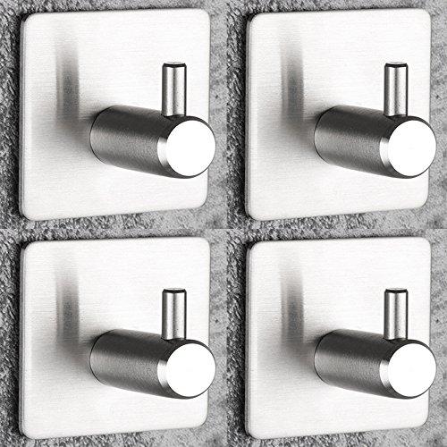 Selbstklebender Haken für Handtuchhalter, Hut Towel Robe Coat Set von 4, MAX 8KG Edelstahl Stick-up Wand Haken Kleiderbügel für Küche Badezimmer Toilettenschränke, Wasser und Rost Beweis.