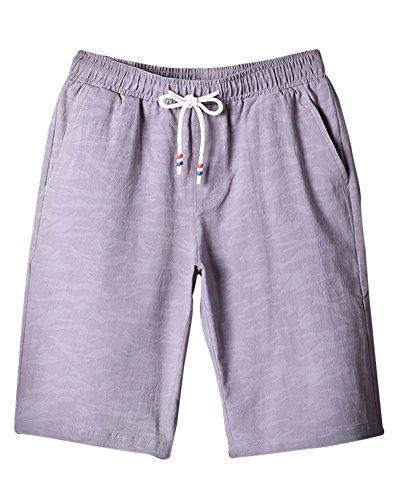 Uomo Bermuda Shorts Pantaloncini Mare Solid Color Sportivi Casual Palestra Sport Pantaloni Grigio Chiaro