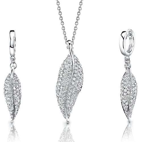 Revoni Celebrated Elegance: Sterling Silver Leaf Pendant Necklace Earrings Set with CZ Diamonds