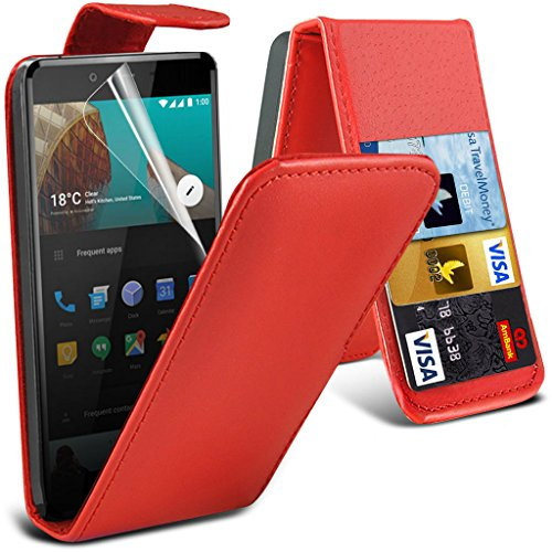 OnePlus X-Etui (Schwarz) Slim-Fit-Abdeckung für OnePlus X hülle Tasche Haltbarer S Linie Wellen-Gel-Kasten-Haut-Abdeckung + LCD-Display Schutzfolie, Poliertuch Leather Flip ( Red )