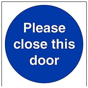 """vsafety 18009 at-s si prega di chiudere la porta""""Mandatory Signs, vinile autoadesivo, quadrato, 200 mm x 200 mm, colore: blu"""