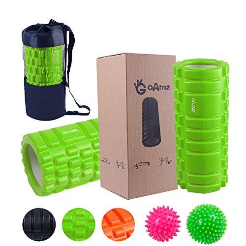 Faszienrolle Set 3 in 1 Foam Roller Set zur Selbstmassage mit 2 Harter Massageball,Sport Massagerolle Für Anfänger, Profis, Damen & Herren mit Tragetasche (Green) (Persönliche Reise-roller)