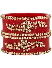 Sukriti Royal Wedding Kundan Acrylic Kadaa Bangles Bridal Jewelry For Women & Girls - Set Of 2 (Colors Available)