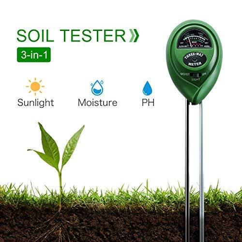 TOPELEK 3-in-1 Bodentester, Digitales Boden PH Wert messgerät für Pflanzen, PH Meter Bodenmessgerät, Boden Feuchtigkeitsmesser,kein Akku,Lichtstärke Meter für Gartenbau, Pflanzen Wachstum, Rasenpflege