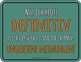 Rahmenlos Plaque métallique avec inscription en allemand d'origine: Ce Que Je Aujourd'hui definitiv ne sont pas AI besoin, encore plus ungebetene Opinions...