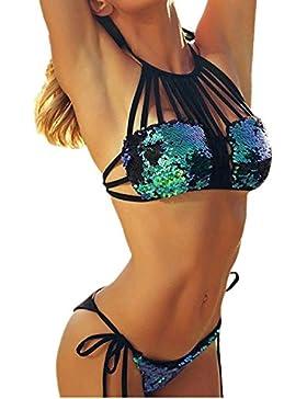 Conjunto de Bikini de Lentejuelas Bling de Vendaje de Mujer, LILICAT® Sujetador Push-up Acolchado + Tanga Bikini...